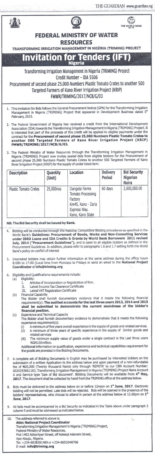 Invitation for tenders procurement of second phase 25000 numbers click on the document above to download the advert on invitation for tender procurement of second phase 25000 numbers plastic tomato crates to another 500 stopboris Choice Image
